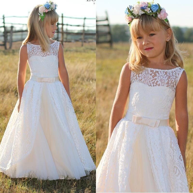 Full Lace Flower Dresses 2016 Junior Bridesmaid Floor Length Kids Party Prom Dress With Bow Sash Child Pageant