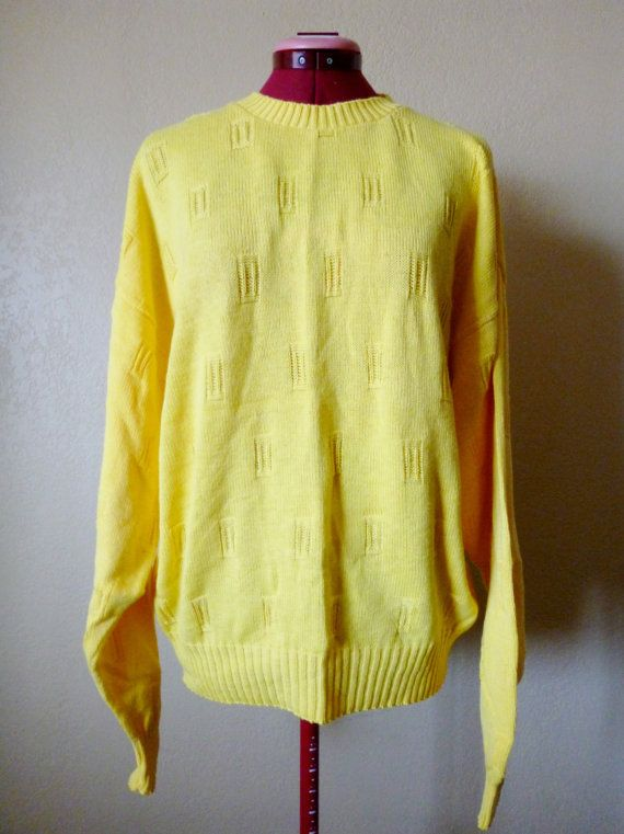 vintage canary yellow knitted sweater M/L by june22nd on Etsy ...