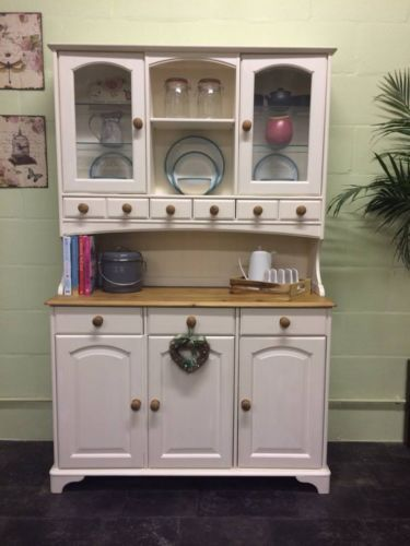 Large Solid Pine Hand Painted Shabby Chic Welsh Dresser Farrow Ball White Tie Ebay