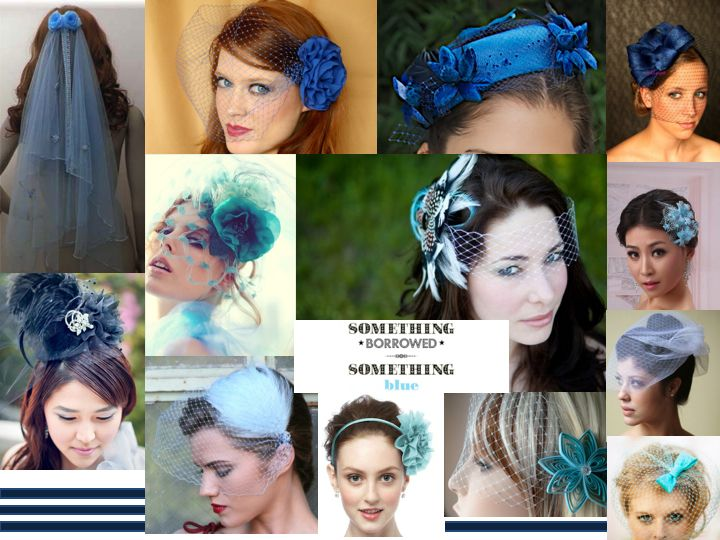 blue veils and head peices