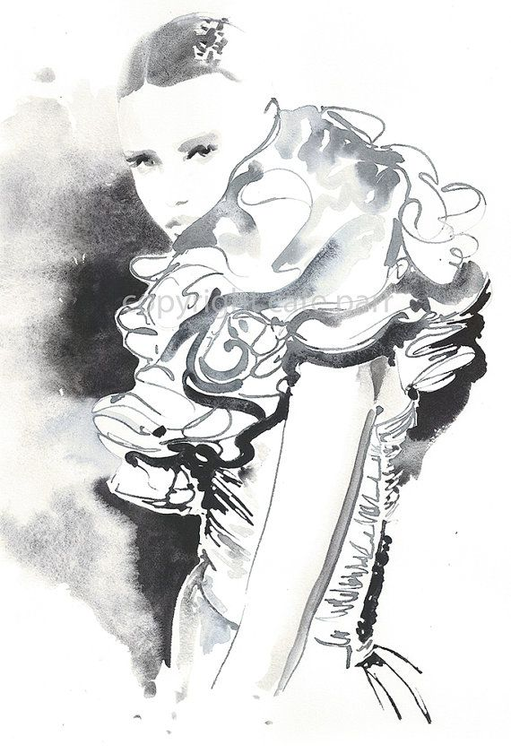 Original Watercolour Painting Titled Ruffles L Art Du Croquis