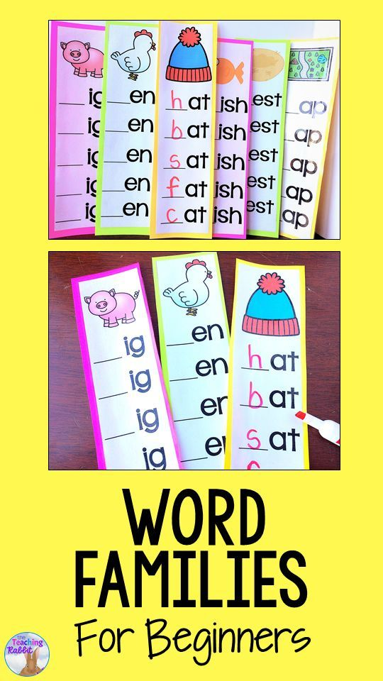 Teach word families using these fun dry erase strips with pictures!  #wordfamilies #wordwork #kindergarten #cvc #literacycenters