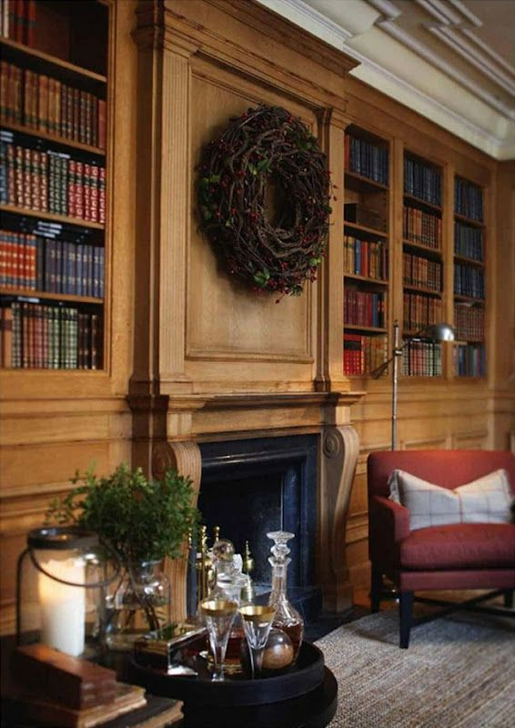 Yes i am totally smitten with this library decorated by for Timeless fireplace designs