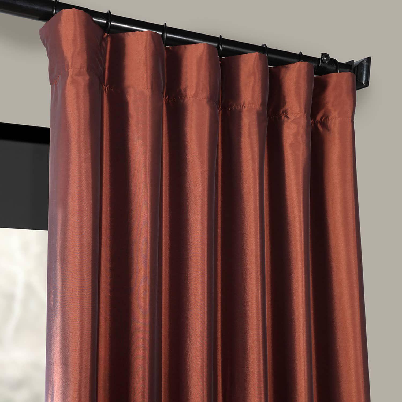 Paprika Faux Silk Taffeta Curtain Curtains Living Room Drapes Yellow Drapes