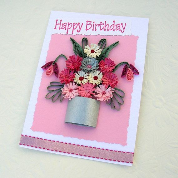 Paper quilling greeting card paper quilled silver pot of pink and paper quilling greeting card paper quilled silver pot of pink and fuchsia fringed flowers birthday handmade m4hsunfo Gallery
