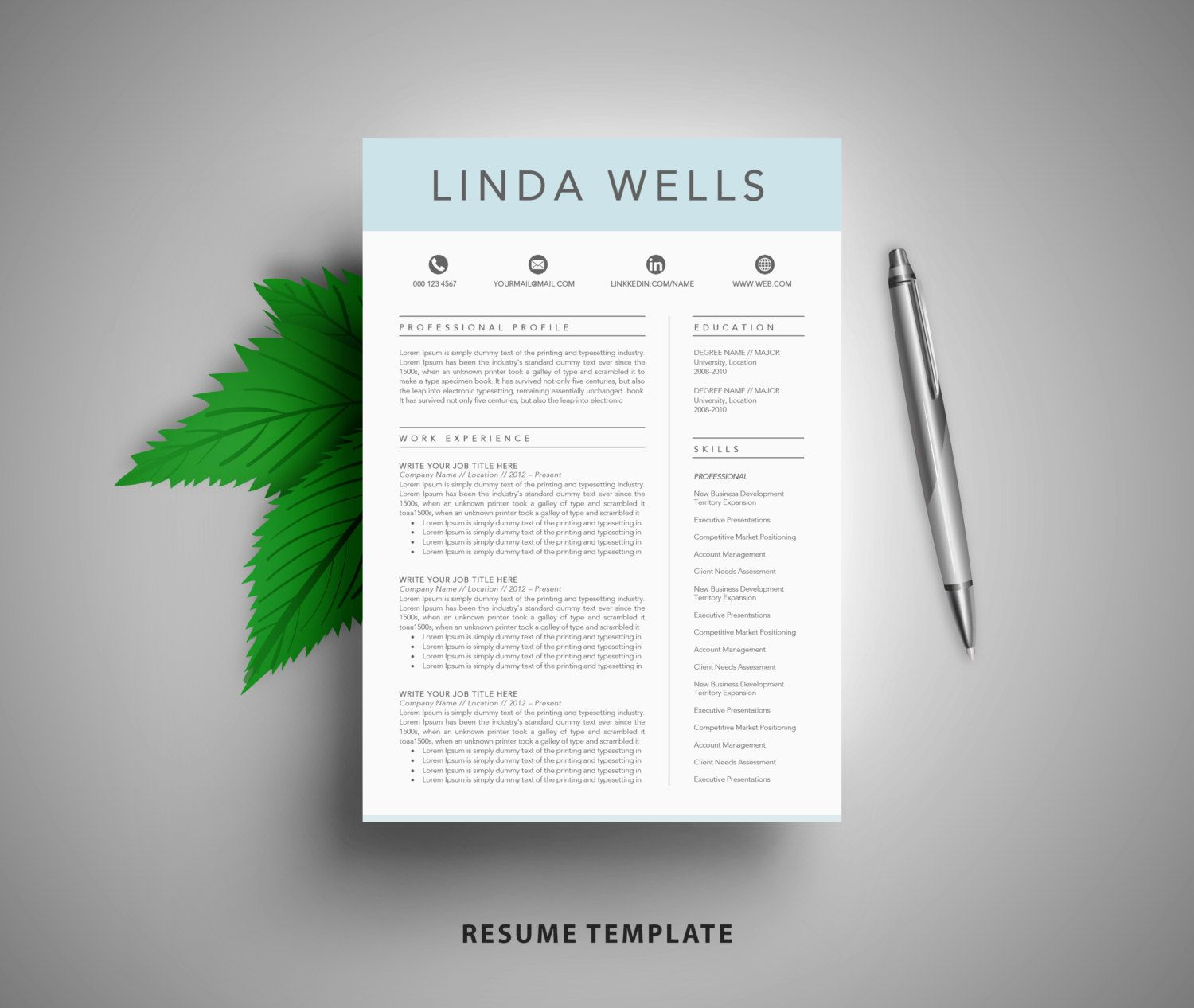 Resume Template CV Template Cover Letter example