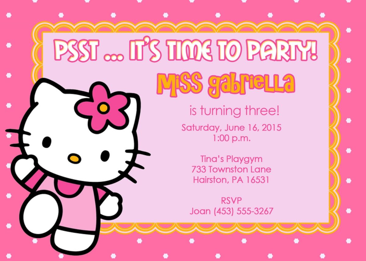 40th Birthday Ideas Birthday Invitation Templates Hello Kitty