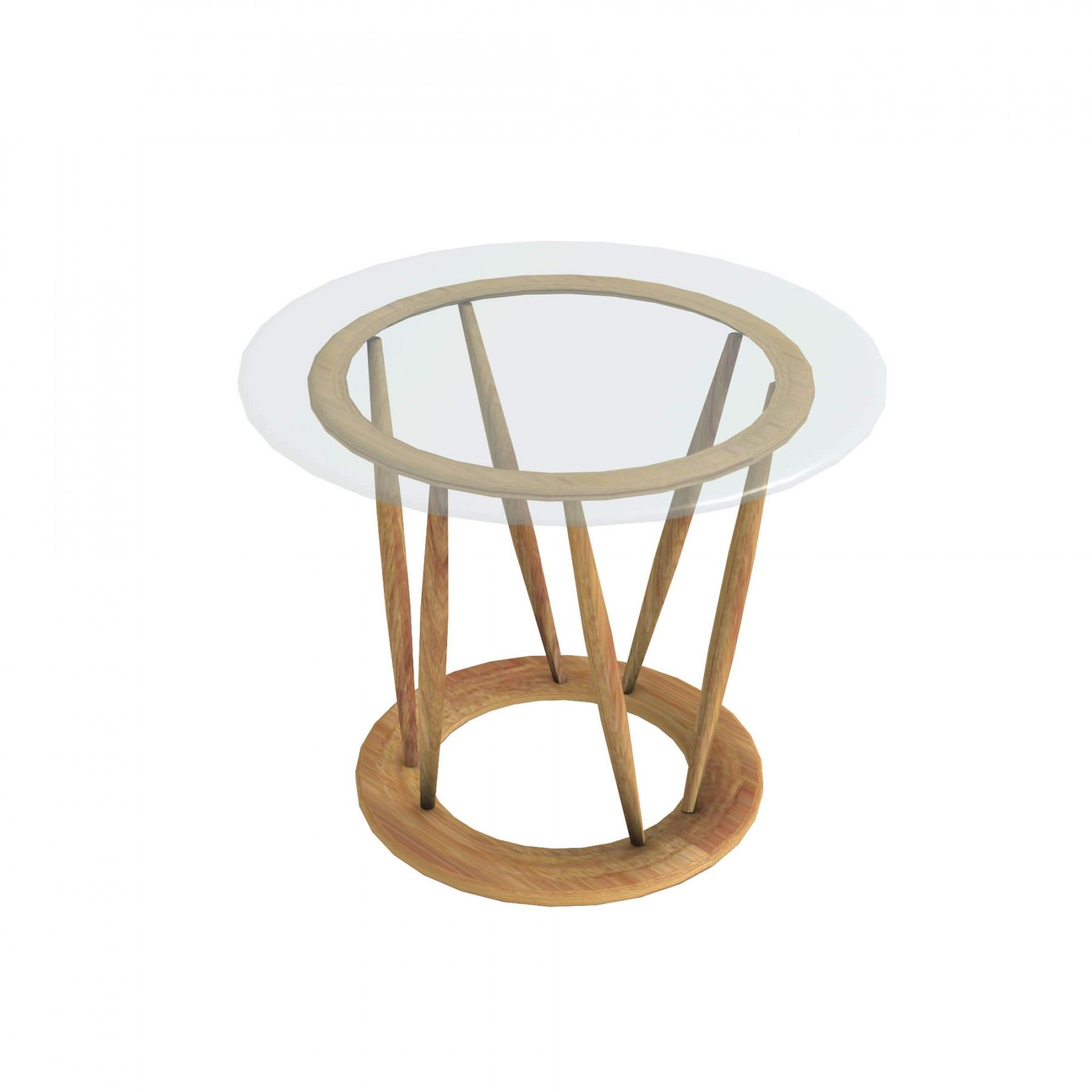Indobrittan teak round coffee table with glass top, Ø 50 cm Unopiù ...