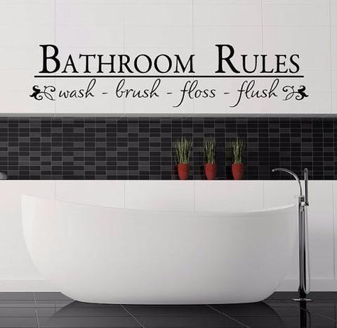 Bathroom Rules Wall Decal   Create U0026 Ship