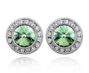 14k White Gold Swarovski Crystal Lab Emerald Stud Earrings Wish List