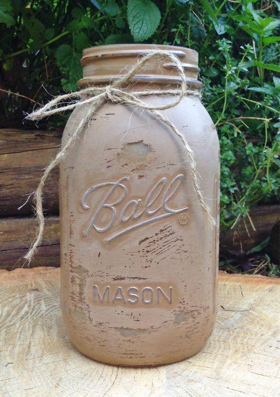 Tan Shabby Chic Mason Jar/Ball Jar/Distressed/Flower Vase