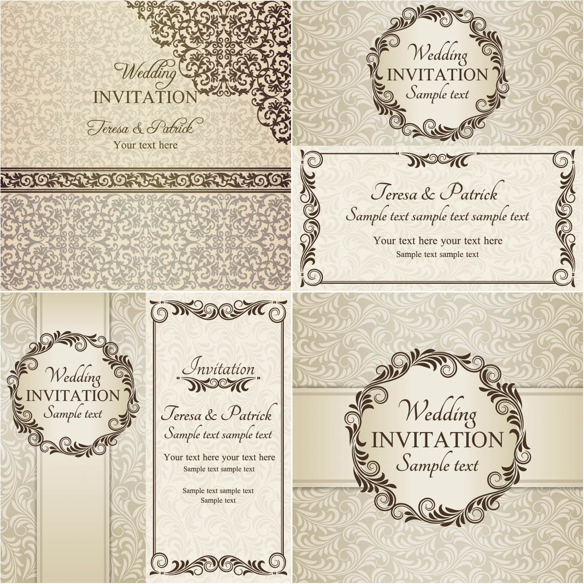 Beige Wedding invitations vector free for download and ready for ...