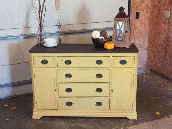 sold mustard yellow 6 drawer vintage distressed buffet storage rh pinterest ca