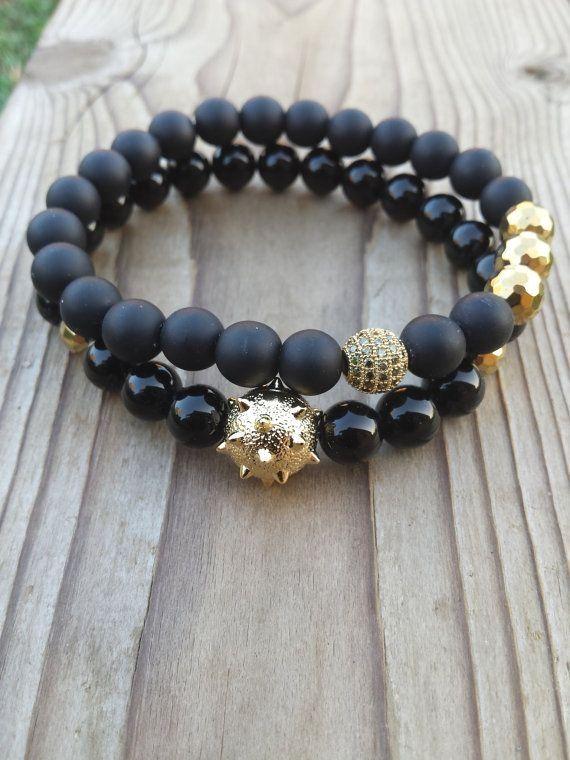 Mens Bracelet Men Black Bracelet Gold Sanding Mace Ball Bead CZ