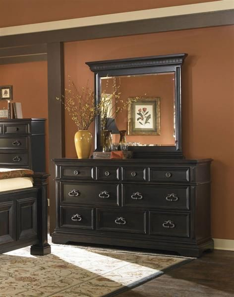 Brookfield Traditional Black Wood Dresser Black Bedrooms Furniture