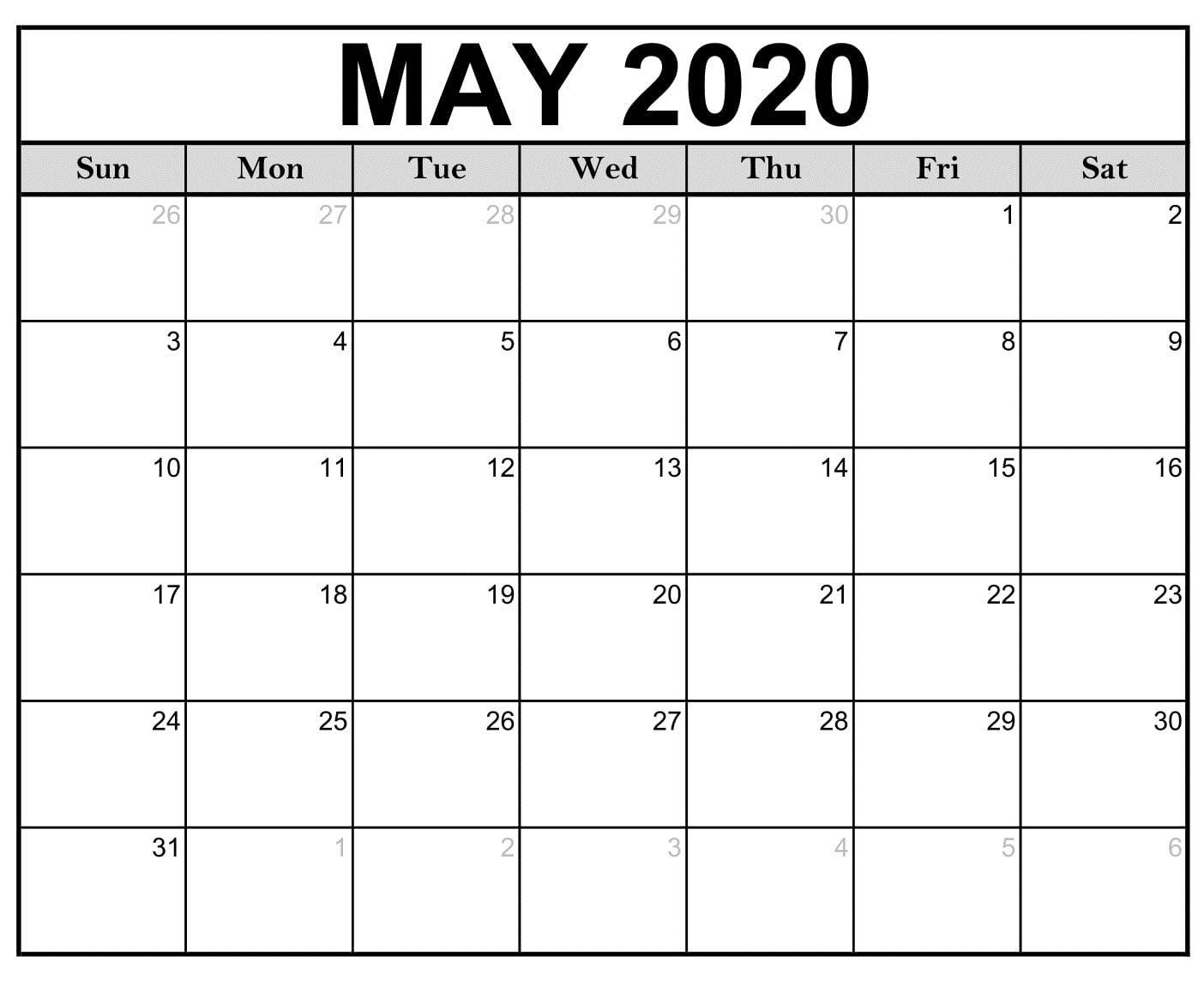 Free Printable Calendar May 2020 Download Free Printable