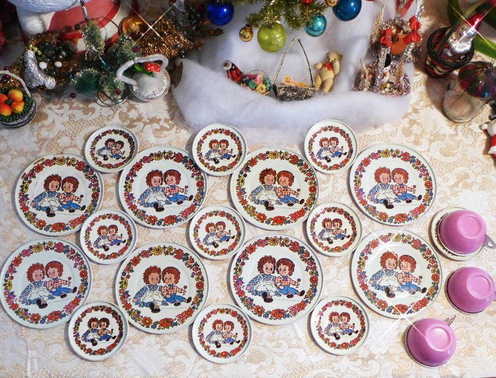 20 Vtg 1971 Chein Bobb-Merrill Raggedy Ann & Andy Childs Tin Tea Set plate cup  #Chein