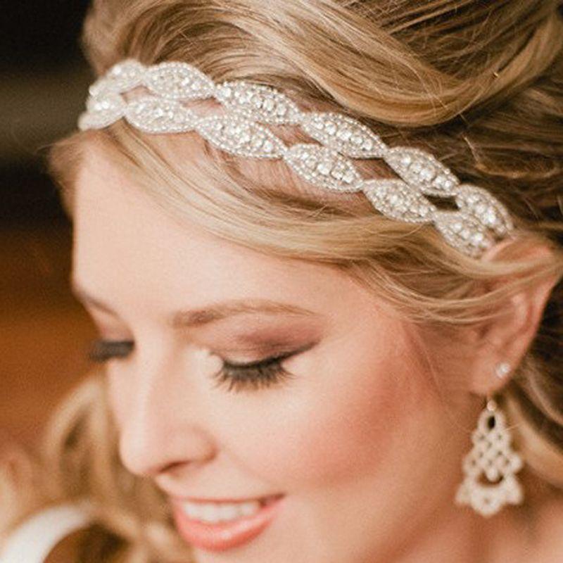 Romantische hochzeit braut kristall stirnband kopfschmuck strass band haarband f r braut - Hochzeit haarschmuck ...
