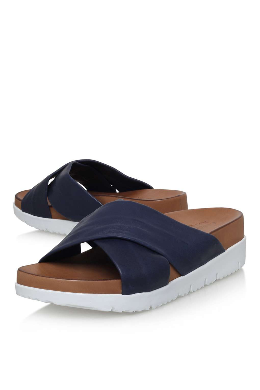 6133239f499   Kasper Navy Flat Sandal By Carvela Kurt Geiger