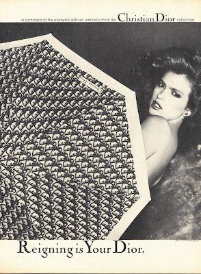 Gia Carangi Editorials: 1979 Christian Dior Umbrella Gia Carangi Photographed by Chris von Wangenheim