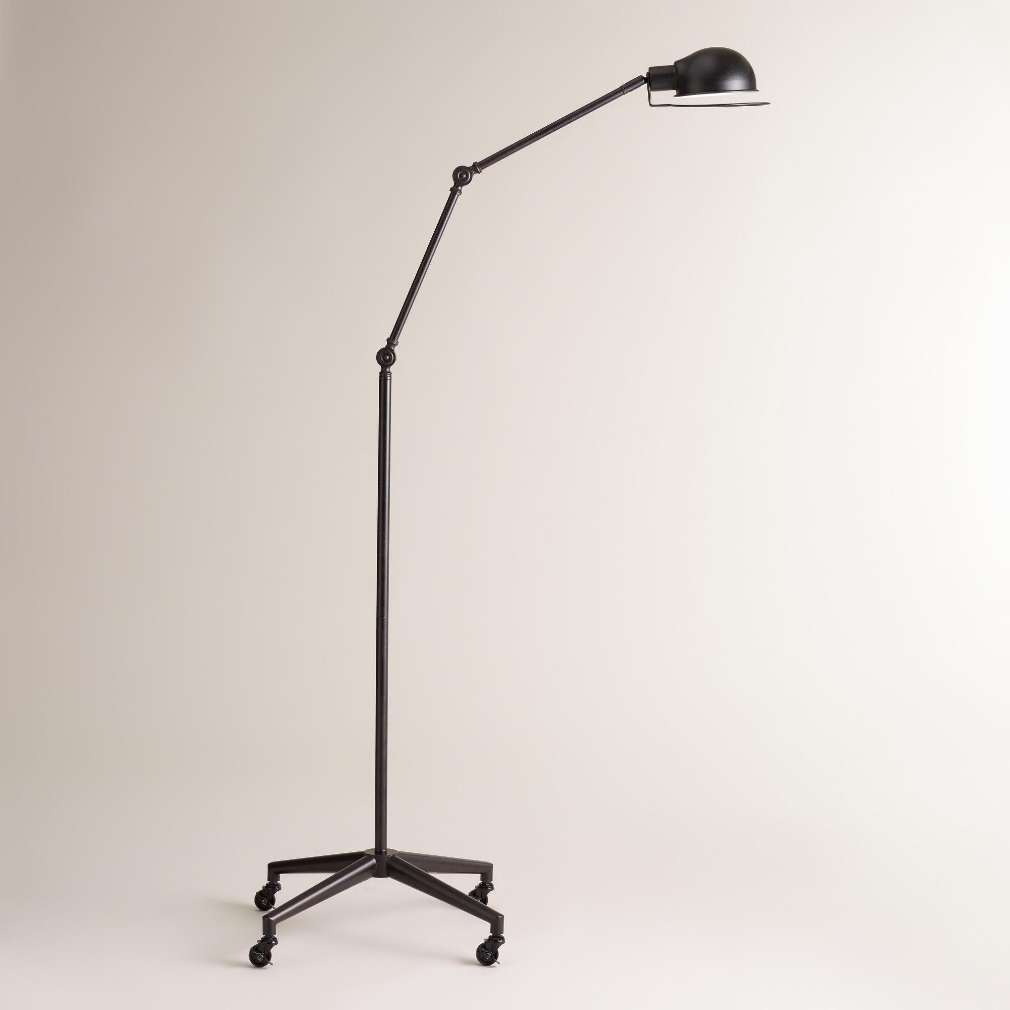 Aged Black Rolling Task Floor Lamp | World Market | Past Work ...