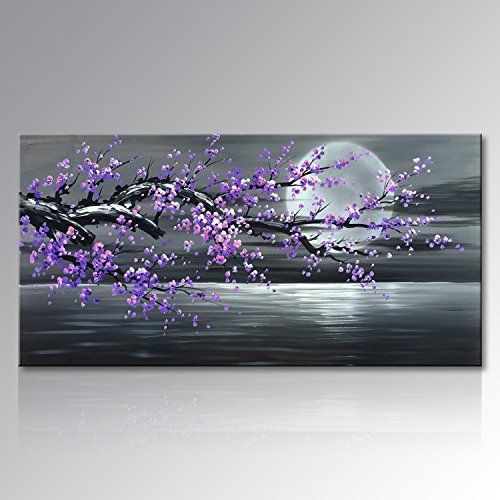 Photo of Konda Art – Framed Plum Blossom Abstract Purple Flower Wall Art Painting Ready to Hang Modern Decoration Artwork On Canvas (Framed 40″ W x 20″ H)