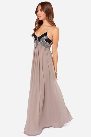 Top of The World Taupe Sequin Maxi Dress | Pinterest | Träume