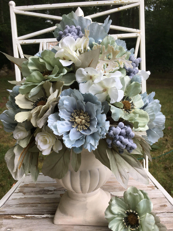 Blue green flower arrangement shabby chic flowers silk flower blue green flower arrangement shabby chic flowers silk flower centerpiece cottage chic centerpiece izmirmasajfo