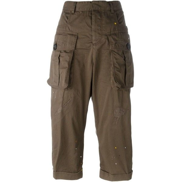 Dsquared2 cargo pants ($485) ❤ liked on Polyvore featuring pants, capris, green, green pants, cropped capri pants, brown trousers, cropped cargo pants and brown cargo pants