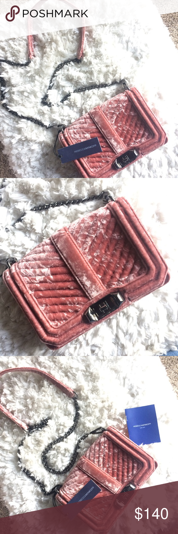 bc3391bd4cd5 Rebecca Minkoff Velvet Quilted Love Crossbody NWT Rebecca Minkoff Velvet  Chevron Quilted Small Love Crossbody in