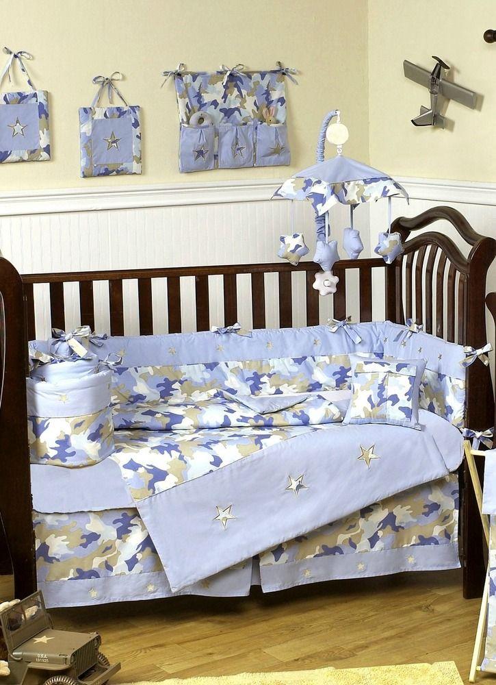 Crib Bedding, Camo And Blue Baby Bedding