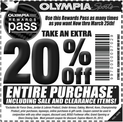 graphic regarding Stein Garden and Gifts Printable Coupons named Help you save 20% at Olympia Sports activities! #coupon CheckPoints Bargains