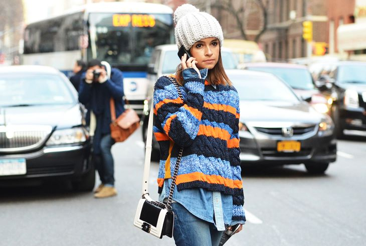 Miroslava Duma - Cozy Chic in NYC (and totally coveting the Chanel Boy bag!)