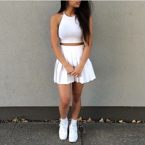 Shoes: two-piece, skirt, crop tops, white, white top,