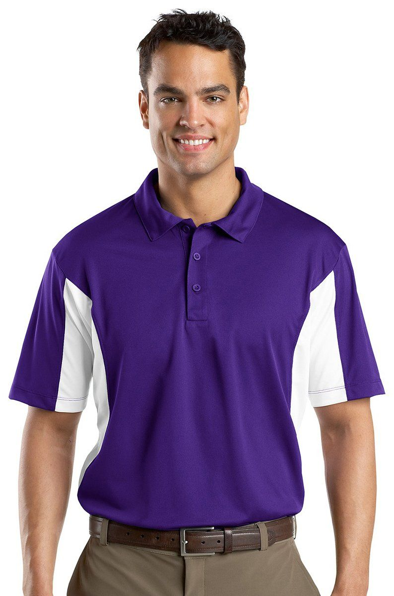 Men Golf Clothing SportTek Mens Side Blocked Micropique