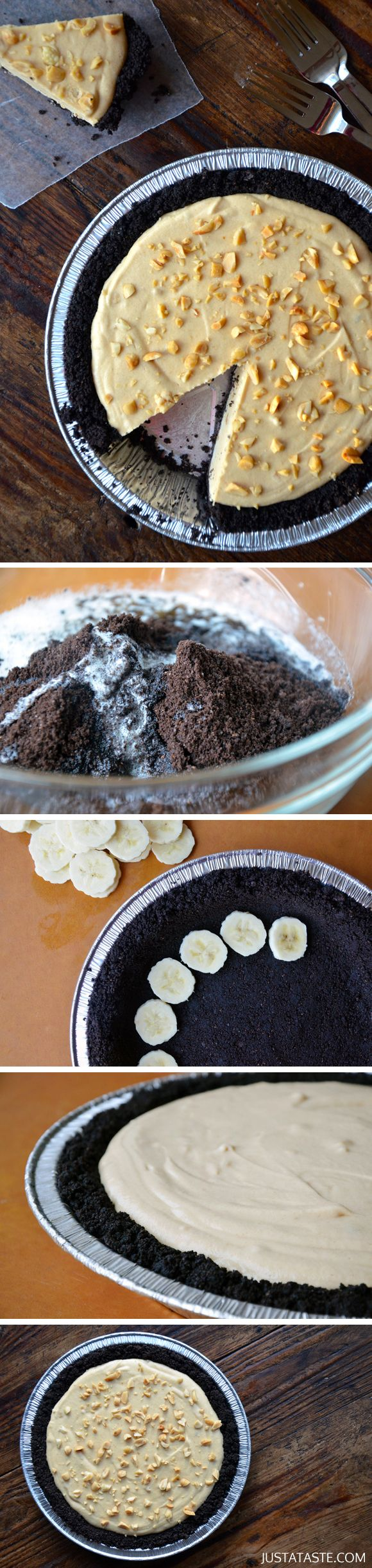 Frozen Peanut Butter Banana Pie #recipe #bananapie