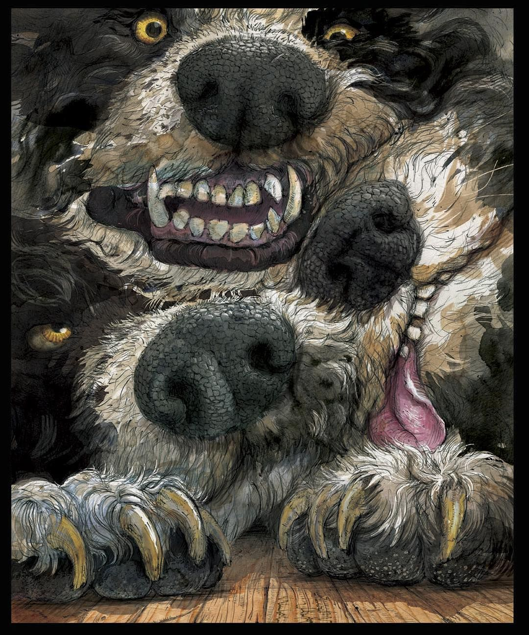 Fluffy The Three Headed Monster From The Philosopher S Stone Fanart Harry Potter Illustration Magie