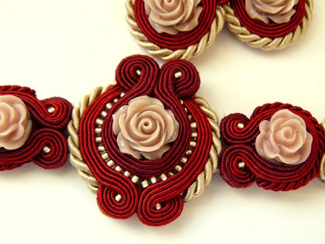 The April creatively: Rose sutaszowy set - Rosaleda. Loving this Soutache with the rose cabs.