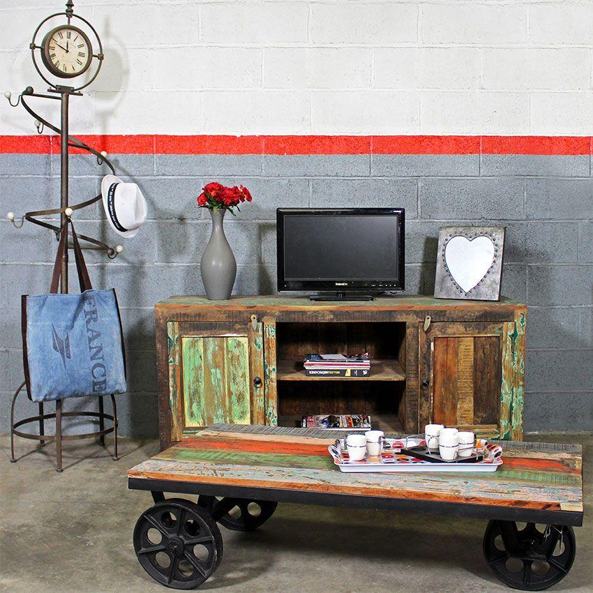 Meuble tv ethnik bois color meuble tv tv et deco - Meuble deco industrielle ...