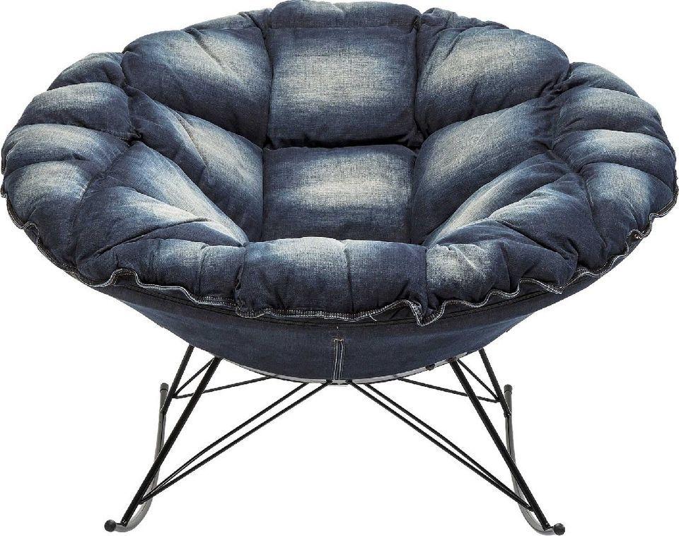 Sessel Schaukelsessel Relaxsessel Loungesessel Jeans Blau Rund Modern NEU  KARE