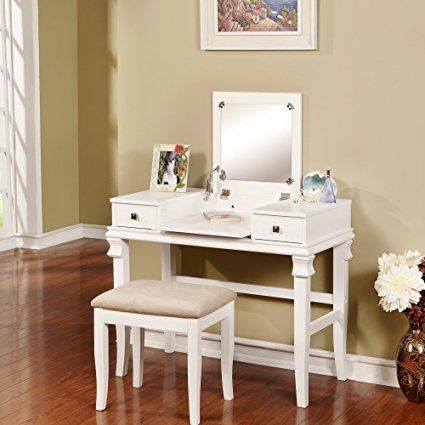 - Linon Vanity Set, Angela White - Surrey Lane Pinterest - Bedroom Vanity Table