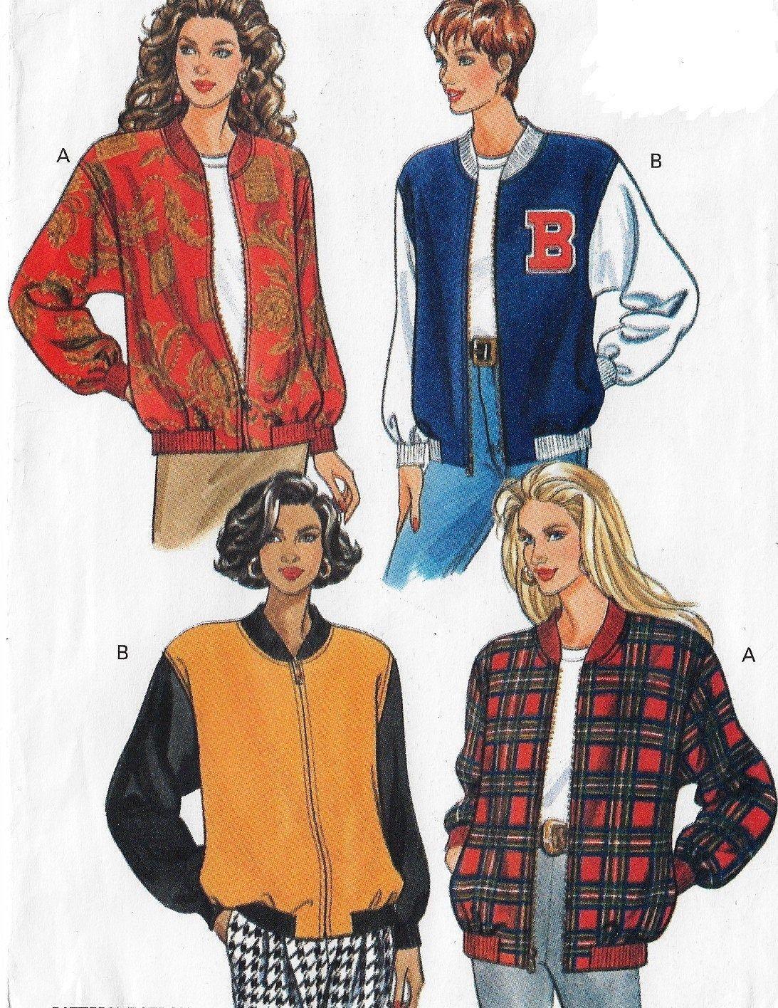 90s Butterick Sewing Pattern 6284 Womens Bomber Jacket Front Zipper Varsity Jacket Size 6 8 10 12 14 16 18 20 22 Bust 30 1 2 To 44 Ff Patterned Bomber Jacket Jacket Pattern Sewing Bomber Jacket Women [ 1416 x 1093 Pixel ]