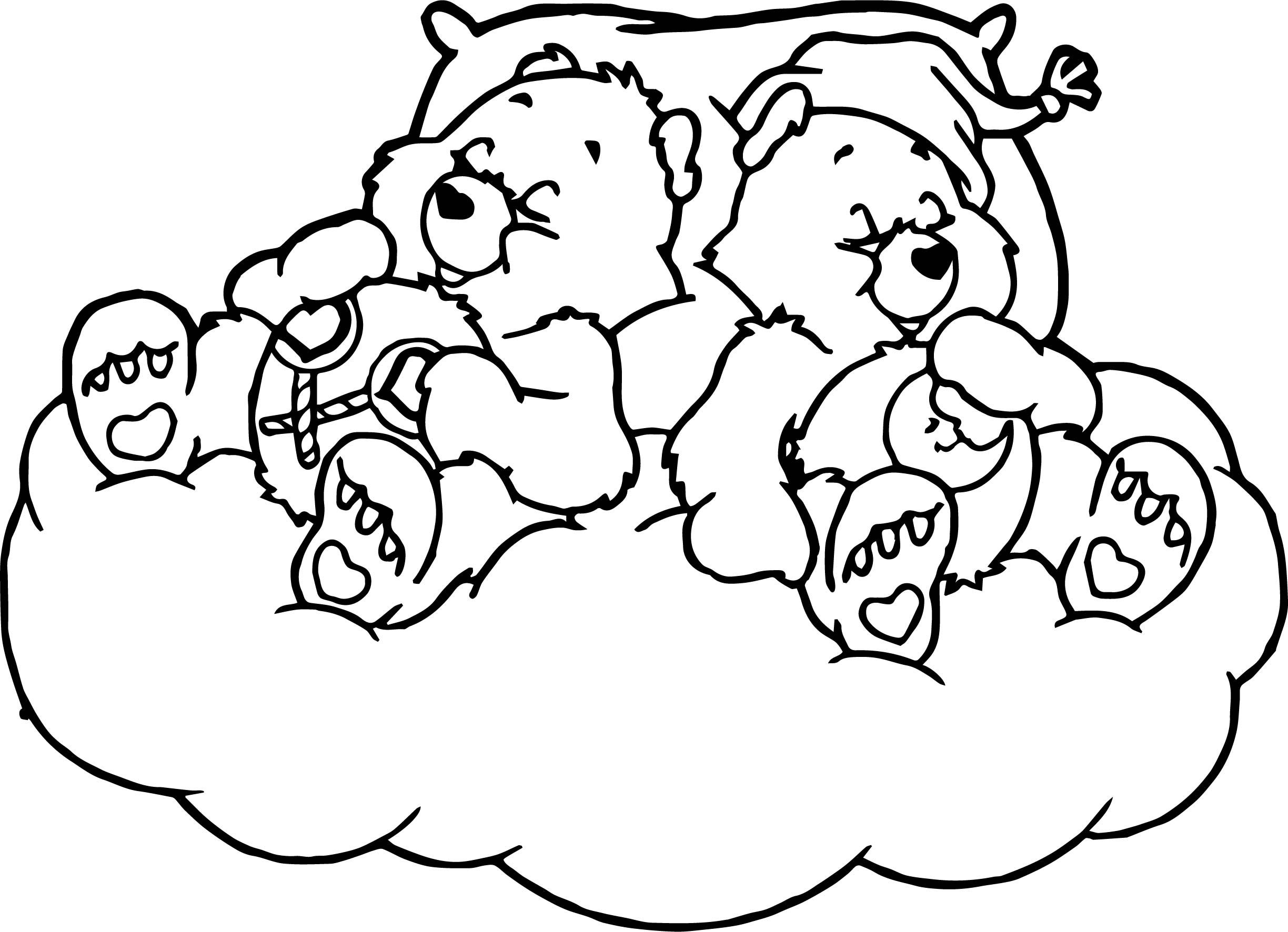 Nice Care Bears Sleeping Bed Coloring Page