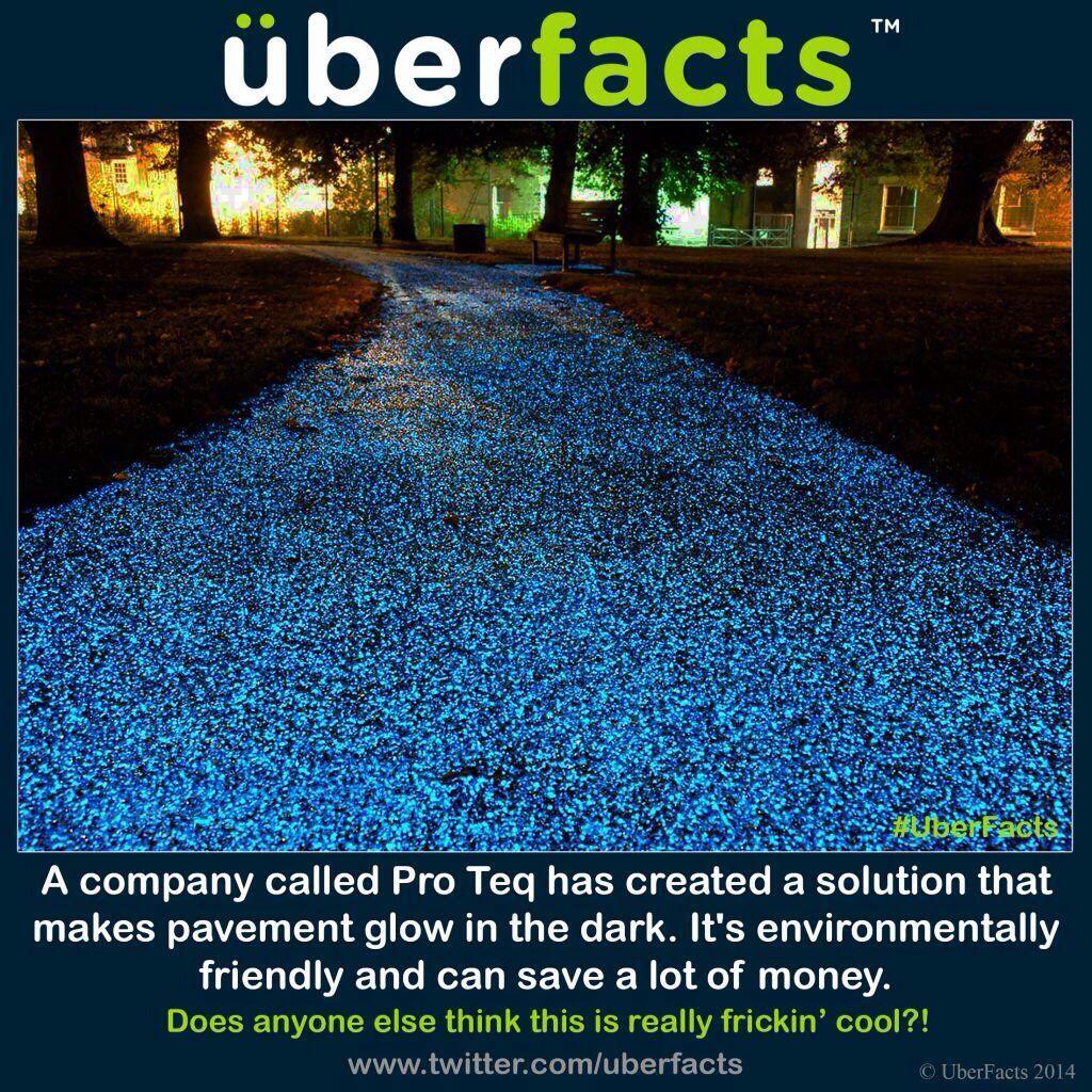 Glow in the dark pavement.