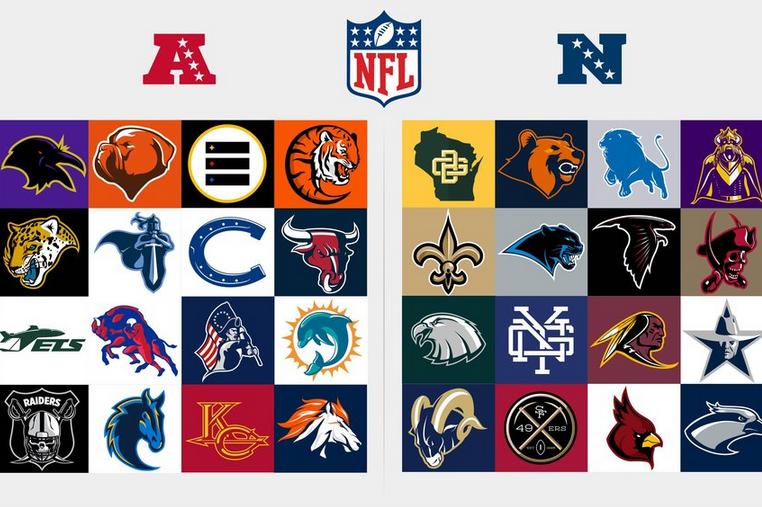 Redesigned Logos For Every Nfl Team Nfl Teams Logos Nfl Logo
