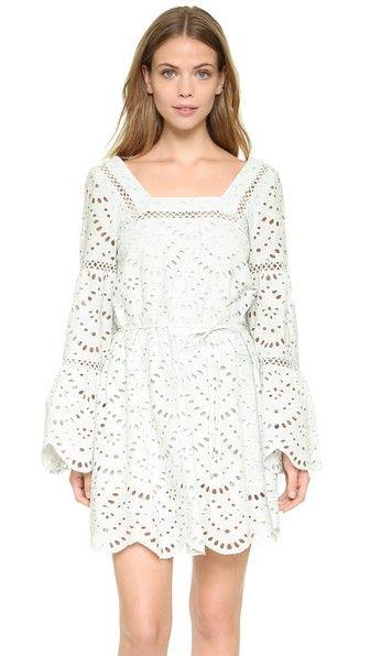Cute eyelet & bell sleeve mint dress