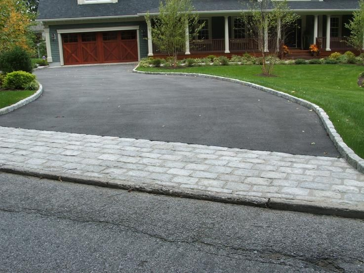 Like the blacktop and the paver combo my new for Driveway apron ideas