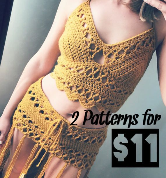 The Lace bralette and The Lace skirt PATTERN, Crochet bralette ...