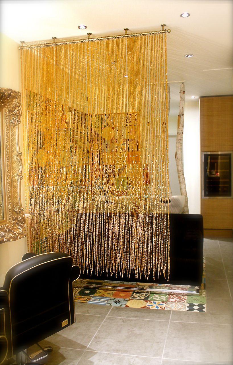 Beaded curtain, bead screen, spa interiors, room divider