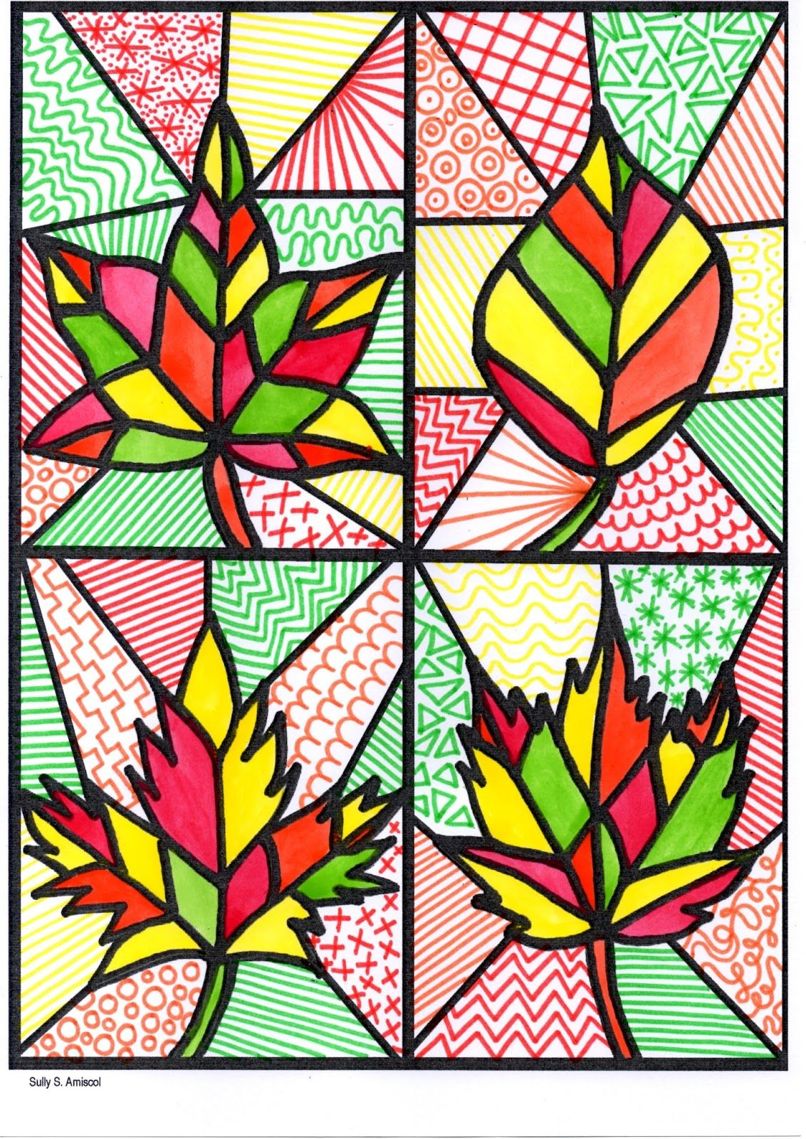 Stained glass leaves fall craft free printable for kids | fall art ...